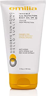Emilia Invisible Sun Protection Body Gel Waterproof Sunscreen for Sensitive Skin, SPF 30 for Clear, Protection from UVA/UVB Rays, Hypoallergenic with Omega 3,6,9, Red Algae, and Carrot Oil Sunblock