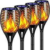 TomCare Solar Lights 99 LED Flickering Flame Solar Torches Lights 43' Waterproof Outdoor Lighting Solar Powered Pathway Lights Landscape Decoration Lighting Auto On/Off for Garden Patio Yard, 4 Pack