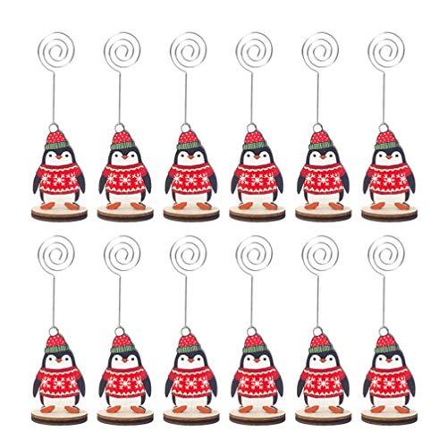 Cabilock 12Pcs Titular de La Tarjeta de Nombre de Navidad Creativo Alambre de Dibujos Animados Base de Madera Titulares de Números de Mesa Clips de Notas Decoración de La Mesa de Navidad
