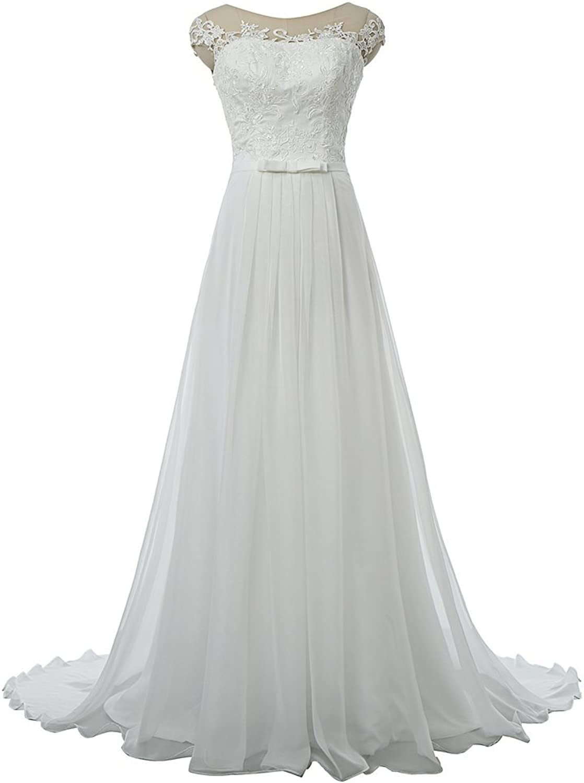 Drasawee Elegant Long Slim Hollow Back Top Tulle Wedding Dresses Bride Gowns