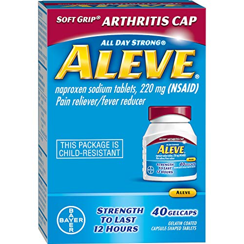 Aleve Soft Grip® Arthritis Cap Gelcaps, Naproxen Sodium 220 mg (NSAID), Pain Reliever/Fever Reducer, #1 Orthopedic Surgeon Recommended, 40 Count
