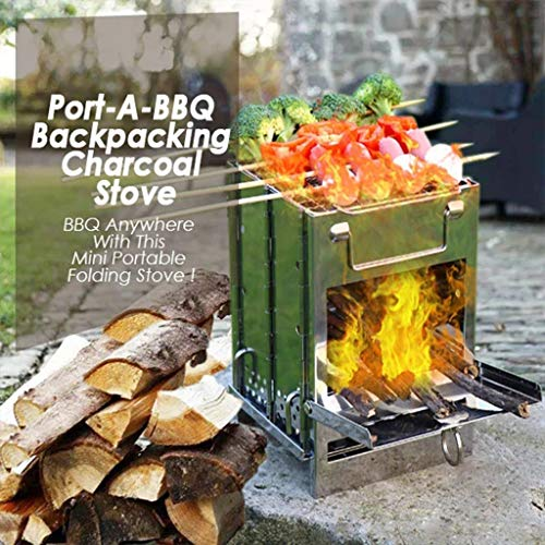 Sdoveb Portable Folded Stove, Backpack Charcoal Stove with Bag, Outdoor Grill Rack Stove Pan Camping Roasters Charcoal BBQ Oven Picnic Cookware (Silver)