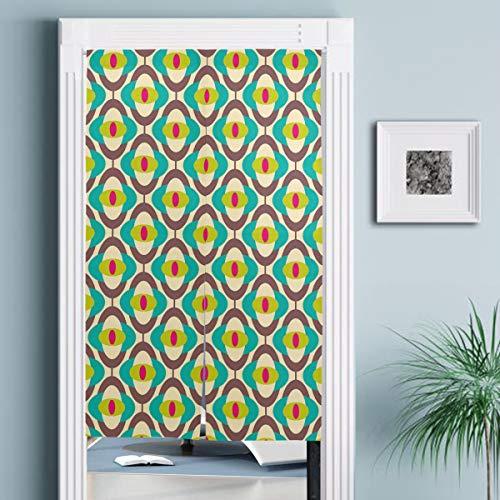 JISMUCI Vorhänge für Türen,Vintage Groovy Bauhaus Kunst Fliesendruck,Türvorhang Für die Küche Wohnzimmer Schlafzimmer