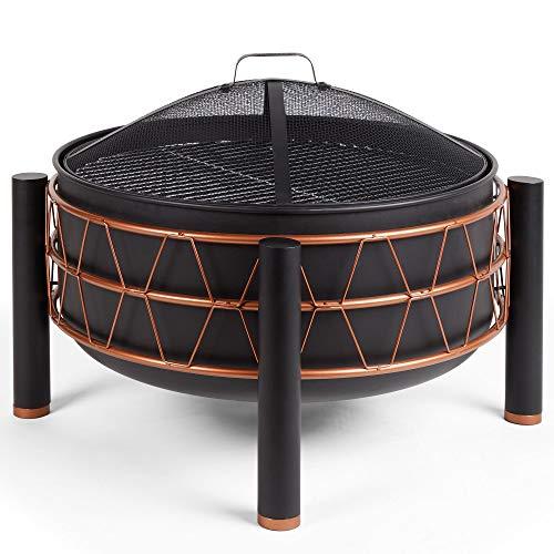 Vonhaus Black & Copper Fire Pit Bbq/Grill - Round Freestanding Outdoor/Garden/Patio Log Burner