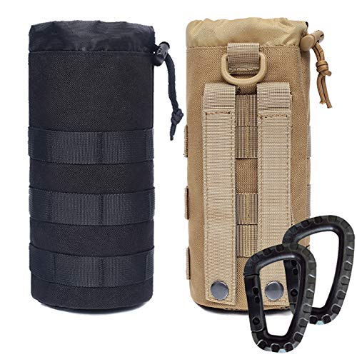 Novemkada Water Bottles Pouches - 1000D Tactical Molle Drawstring 32OZ Hydration Carrier Bag (Black+Tan)