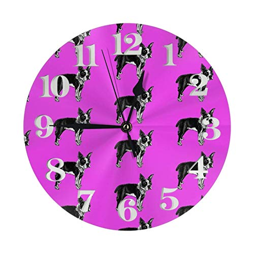 Boston Terrier Dog Breed Gifts Round Wall Clock Large Decorative Wall Clock Round Numeral Style Modern Home Decor For Living Room(9.84in)