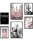Heimlich Cuadros Decorativos - SIN Marcos -Decoración Colgante para Paredes de Sala, Dormitorios y Cocina - Arte Mural - 2 x A3 & 4 x A4-30x42 & 21x30 | » Pink Fashion «