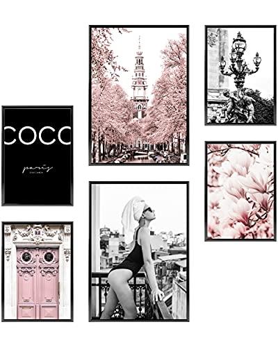 Heimlich Cuadros Decorativos - SIN Marcos -Decoración Colgante para Paredes de Sala, Dormitorios y Cocina - Arte Mural - 2 x A3 & 4 x A4-30x42 & 21x30   » Pink Fashion «