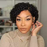 Pixie Cut Bob 4X4 Silk Base Lace Front Wigs Human Hair Short Curly Silk Top Wig with Baby Hair Brazilian Human Hair Wigs for Black Women Pre Plucked 180 Density NC 8inch