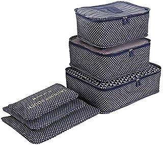 AutoWT Bolsas organizadoras de equipaje, 6 piezas Bolsa de almacenamiento de viaje impermeable varios tamaños Bolsa de lavandería para paquetes de clasificación de ropa Ideal para organizar maletas de mano ( 3 bolsa de malla, 3 lavandería bolsa)