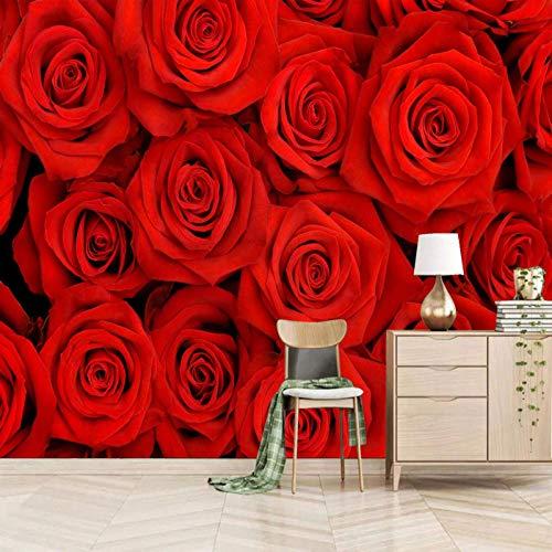 Msrahves Foto Mural Pared 3D Rojo romántico planta rosa grande Mural TV Fondo Papel de pared Sala de estar Sofá Dormitorio Papel tapiz Papel pintado creativo moderno tejido no tejido