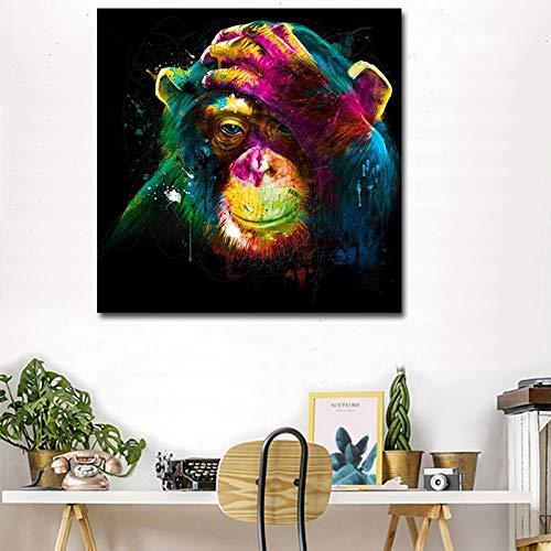 KWzEQ Imprimir en Lienzo Pensamiento Gorila Carteles de Pared y decoración del hogar para Sala de estar40x40cmPintura sin Marco