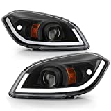 ACANII - For 2005-2010 Chevy Cobalt 07-10 Pontiac G5 Black Housing LED Tube Projector Headlights Headlamps Left+Right