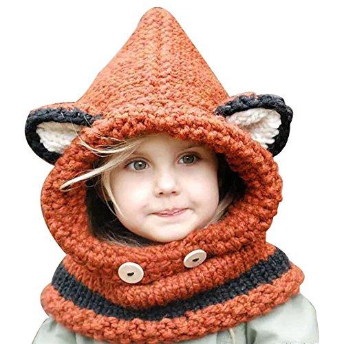 Sunroyal Inverno Caldo Coif Cappuccio Sciarpa Caps Cappello Earflap Fox Scialli di Lana Lavorato a Maglia Cappelli della Protezione per Il Bambino Scherza Ragazzi delle Ragazze (Arancione)