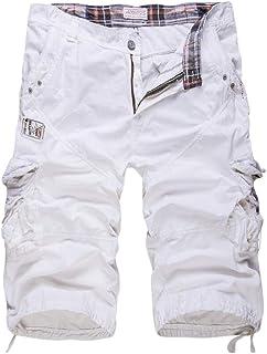 QitunC Men's Outdoor Cropped 3/4 Cargo Shorts Pants Casual Multi Pockets Shorts