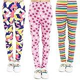 Adorel Leggings Estampado Pantalón Stretch para Niña 3 Pack Disfraz y Raya y Estrella 6-7 Años (Tamaño del Fabricante 70)