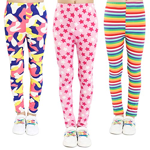 Adorel Leggings Estampado Pantalón Stretch para Niña 3 Pac