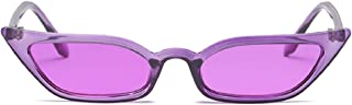 Small Frame Skinny Cat Eye Sunglasses for Women Colorful Lens Mini Narrow Square Retro Cateye Vintage Sunglasses by W&Y YING