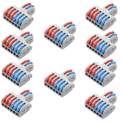 tatoko 10PCS Mini Fast Wire Connector Universal Wiring Cable Connector Push-in Conductor Terminal Block Two in and Six Out