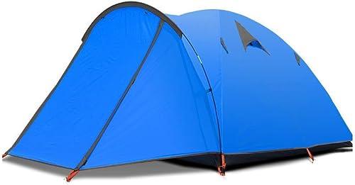 ZSN Tente de Camping 3-4 Personnes à Double Porte écran Solaire Coupe-Vent Super Grande Tente