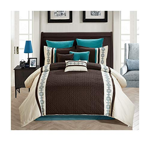 All American Collection New 7 Piece Embroidered Over-Sized Comforter Set (King, Beige/Brown/Turquoise)
