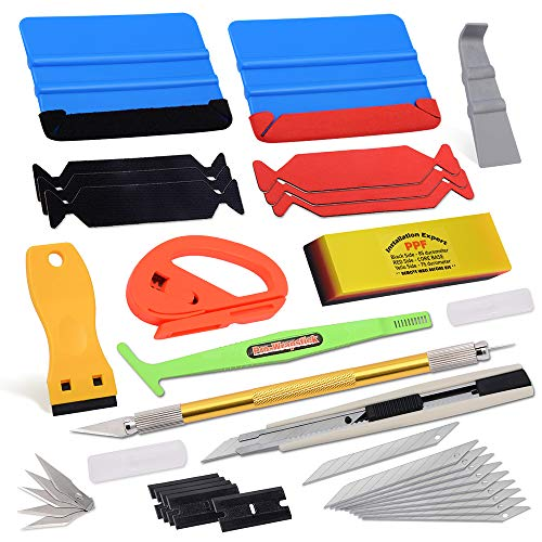 Standard Car Wrap Vinyl Tools Kit includes Felt Squeegee PPF Scraper Safety Cutter Air Bubble Release Tool, Vehicle Applicator Kit for Window Tint Film Install Wallpaper Tools
