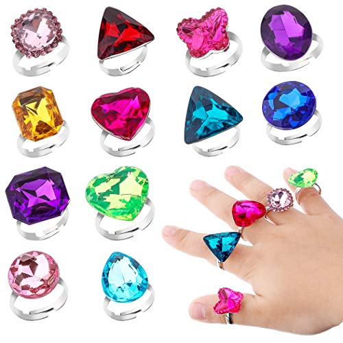 Richness Adjustable Little Girl Jewel Rings Kids Gift Play Rings Multi Shapes Colorful Princess...