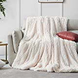 Hansleep Shaggy Faux Fur Blanket, Ultra Soft Plush Fuzzy Throw Blanket with Reversible Warm Sherpa - Sofa Couch Bed Decoration for All Season Use (Cream, Throw 50x65)