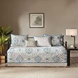 Madison Park Tissa Polyester Printed Daybed Set, Teal, 6 Piece