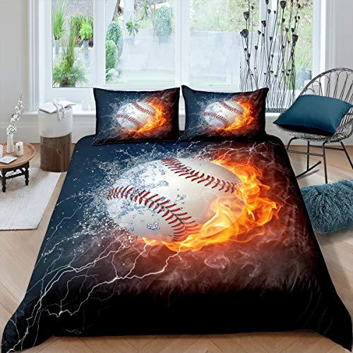 3D Sport Baseball Bettwäsche Set 155x220cm Jungen Teenager Sport Thema Bettbezug Set Kinder Jugend 3D Baseball Muster Betten Set Weich Bedroom Collection 2St