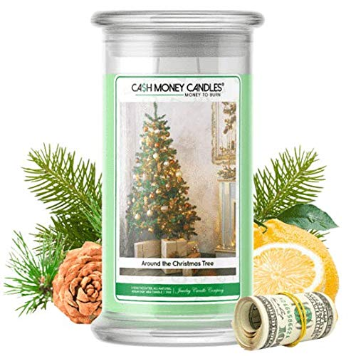 Cash Money Candles | $2-$2500 Inside | Guaranteed Rare $2 Bill | Large Long-Lasting 21oz Jar All Natural Soy Candle | Hand Poured Made in The USA Family Owned (Around The Christmas Tree)