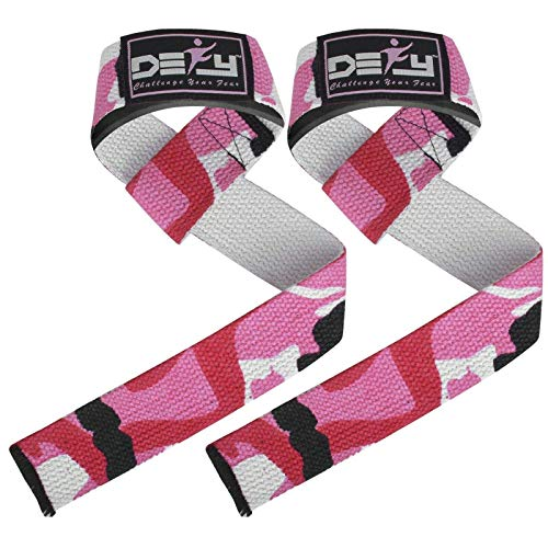DEFY Lifting Straps (Pair) – Premium Quality Neoprene Padding, Reinforced Stitching, Non-Slip Support - Secure Your Grip by Maximizing Weightlifting, Powerlifting, Strength (Pink Camo)