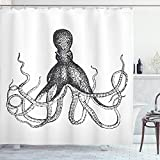 Ambesonne Octopus Shower Curtain, Monochrome Marine Animal Tentacles in Sketch Subaquatic Life Artwork, Cloth Fabric Bathroom Decor Set with Hooks, 70' Long, White Charcoal Grey