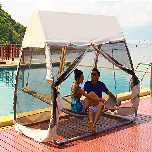 ZEIYUQI - Silla colgante para 2 personas, con soporte y mosquitera, para exteriores, con mosquitera, para playa, patio, terraza, beige, L