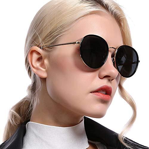 LG Snow Nuevas Gafas De Sol Polarizadas for Mujer con Montura Redonda Y Gafas De Conducción Retro Clásico Negro con Protección UV400