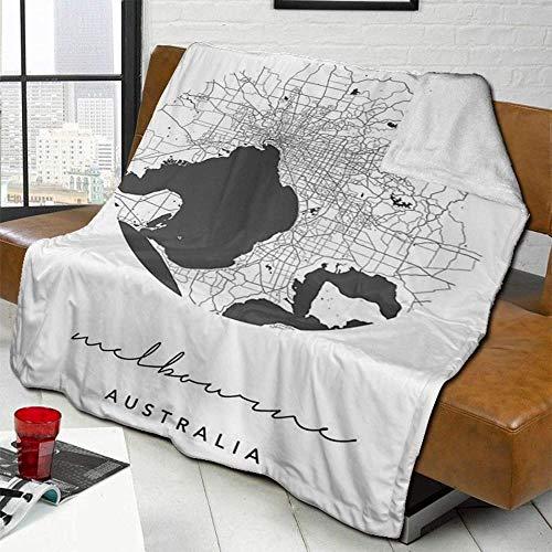 Wohn-&Kuscheldecken Retro Schwarzweiss Melbourne Australien Kreis Straßenkarte Throw Wohnzimmer/Schlafzimmer/Sofa Couch Travel Super Soft Fluffy Warm Solid Bed Throws Für Sofa Mikrofaser Decke