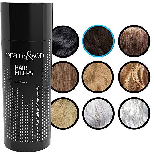 Brains & Son Streuhaar - Premium Haarverdichtung / Schütthaar mit Soforteffekt bei Geheimratsecken, Haarausfall und lichtem Haar - Haarpuder | 25g (DUNKELBRAUN)