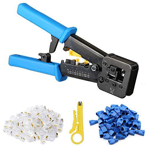 Hiija EZ RJ45 Crimp Tool Pass Through Cat5 Cat5e Cat6 Crimping Tool for RJ45/RJ12 Regular and End-Pass-Through connectors with 50PCS Connectors, 50PCS Covers and Network Wire Stripper