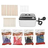 Cire d'épilation, kit de chauffage de cire dépilatoire avec des haricots de cire et appliquer le bâton, accessoires de machine de chauffe-cire pour les bras du corps jambes Bikini épilation(EU)