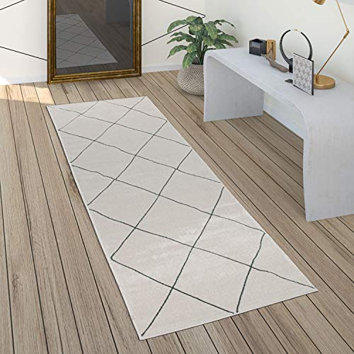 Paco Home Teppich Wohnzimmer Skandi Rauten Muster Modern Weiß Verschiedene Designs Größen, Grösse:80x300 cm, Farbe:Weiß 3