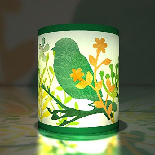 Kartenkaufrausch 5 vogeltjes transparante lichten | theelichthouder | klein transparant papier lichten niet alleen voor zomernachten, groen
