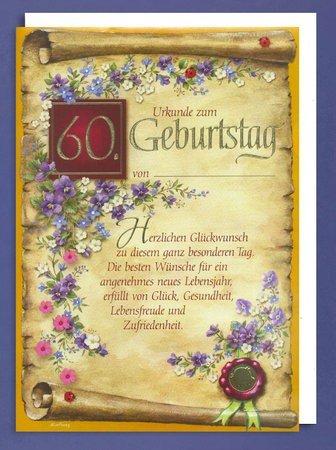 Horn Ehrenurkunde 60. Geburtstag A4