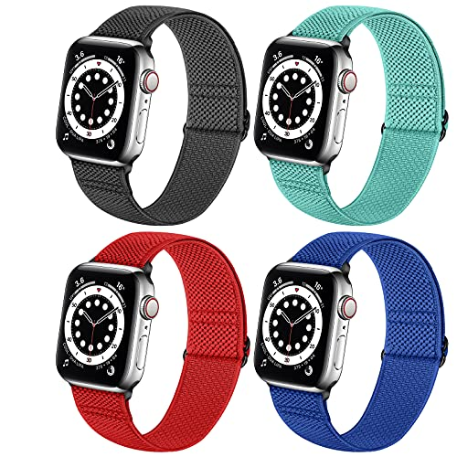 Neoxik Soft Nylon Braided Elastic Watch Bands Compatible with Apple Watch 42mm 44mm,Adjustable Sport Breathable Wrist Strap for iWatch Series 6 5 4 3 2 1 SE