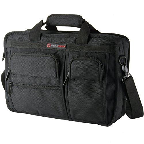 Alpine Swiss Conrad Messenger Bag 15.6 Inch Laptop Briefcase with Tablet Sleeve Black