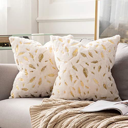 MIULEE Bronzing Feder Kissenbezug Buchstabe Kissenhülle Dekorative Kurzes Haar Dekokissen mit Reißverschluss Sofa Schlafzimmer 18x18 Inch 45 x 45 cm 2er Set Weiß