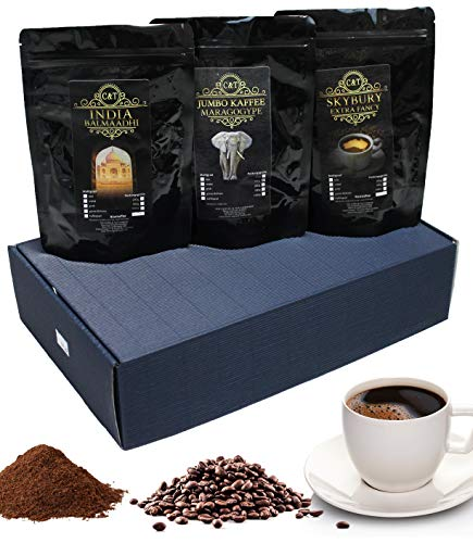 Geschenk Set exklusive Kaffee-Raritäten Jumbo-Kaffee (Maragogype), Skybury & India Balmaadi Spitzenkaffees (Ganze Bohne)