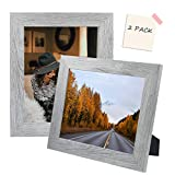 Golden State Art, Set of 2 Picture Frame - Wide Molding - Wood Grain Style - Easel for Tabletop Display, Back Hangers for Wall Display - Great for Baby Pictures, Weddings, Portraits (8x10, Grey)