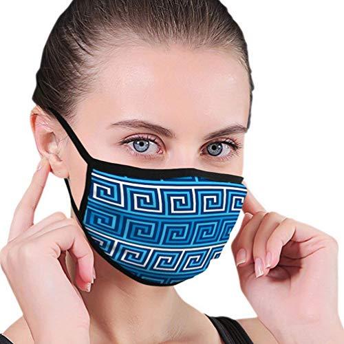 Multifunktionale Gesichtsschutzhülle,Griechisches Mäander Geometrisches Nahtloses Muster Unisex Waschbare Wiederverwendbare Gesichtsdekorationen Für Den Persönlichen Schutz