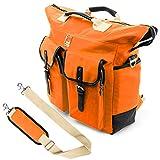 Lencca Universal Hybrid 3 in 1 Carrying Tote Messenger Crossbody Shoulder Bag Backpack w, Removable Strap for ASUS X551MAV EB01 B series 15.6 inch Notebook Chromebook Ultrabook Laptop, Orange