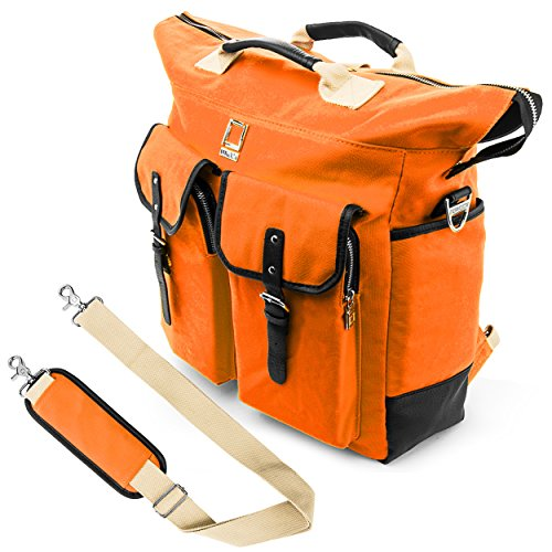 Lencca Universal Hybrid 3 in 1 Design Carrying Tote Messenger Shoulder Bag for Acer Iconia W700 6607, W700P 6821 11.6 inch, A3 A10 L662 10.1 inch Fit 10 to 12.2 inch Google Android Netbook, Orange